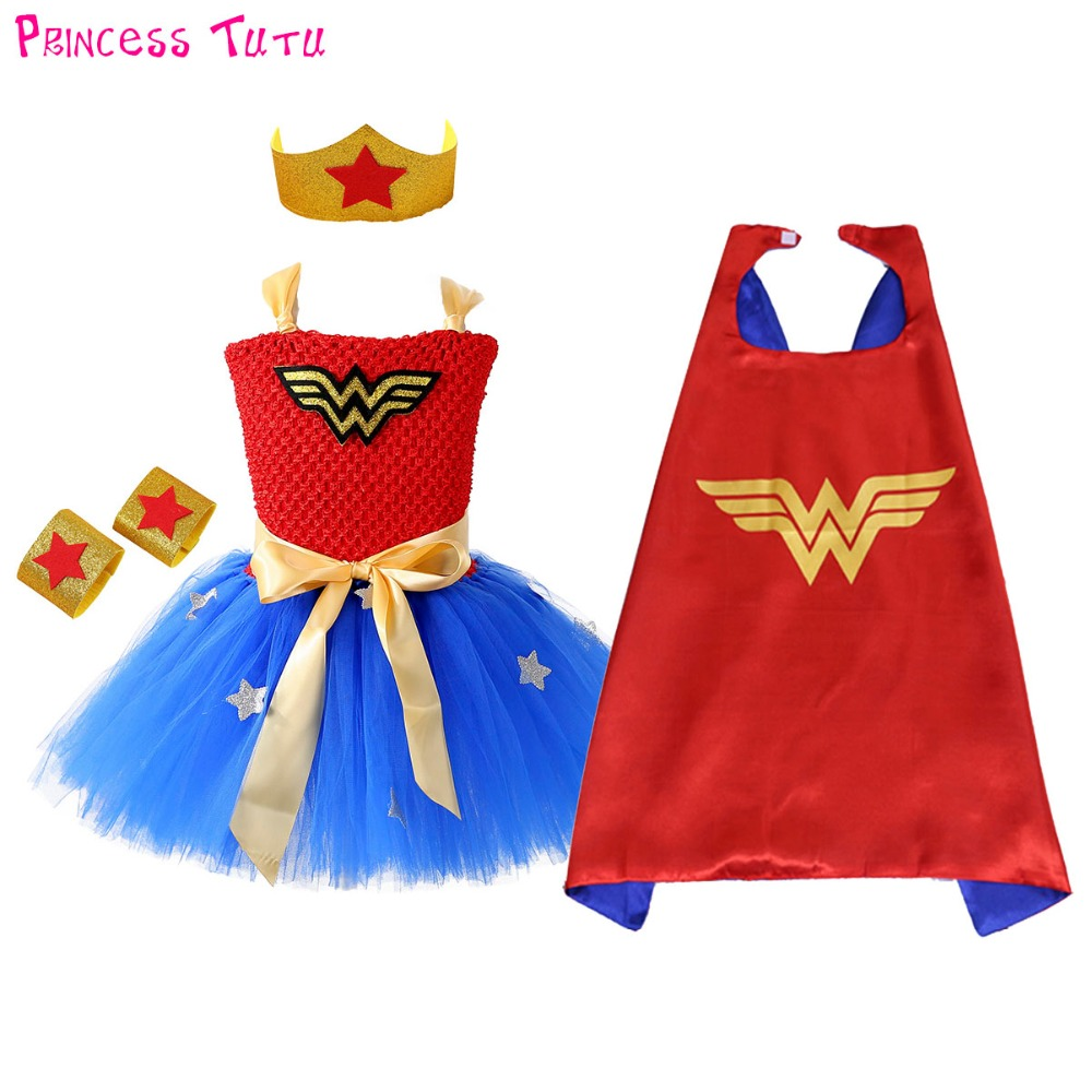 1 Set Wonder Woman Girl Tutu Dress Brave Super Girls Superhero Hero Theme Birthday Party Dresses Halloween Costume For Kids summer kids girl tutu dress wonder woman halloween costume birthday dresses for party cosplay superman costume baby party frocks