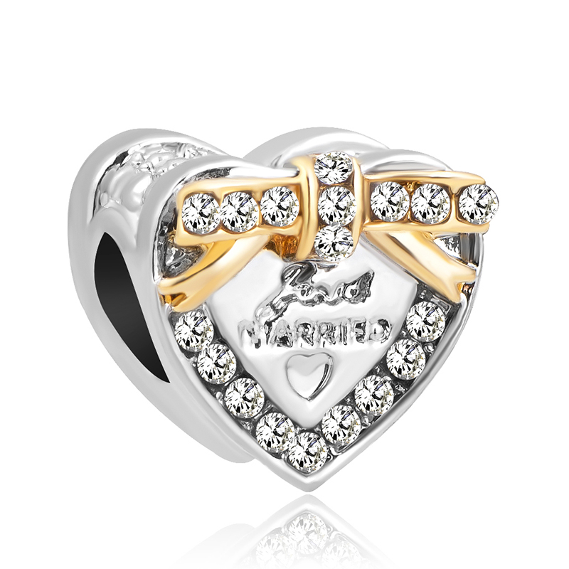 free shipping 1pc  gold two tone wedding just married heart bead Charms Fits European pandora Charm Bracelets  A629 bracelet