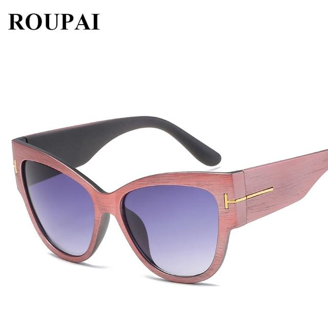 FOR SALE] Women cat eye Sunglasses Female Vintage wood grain wide ...