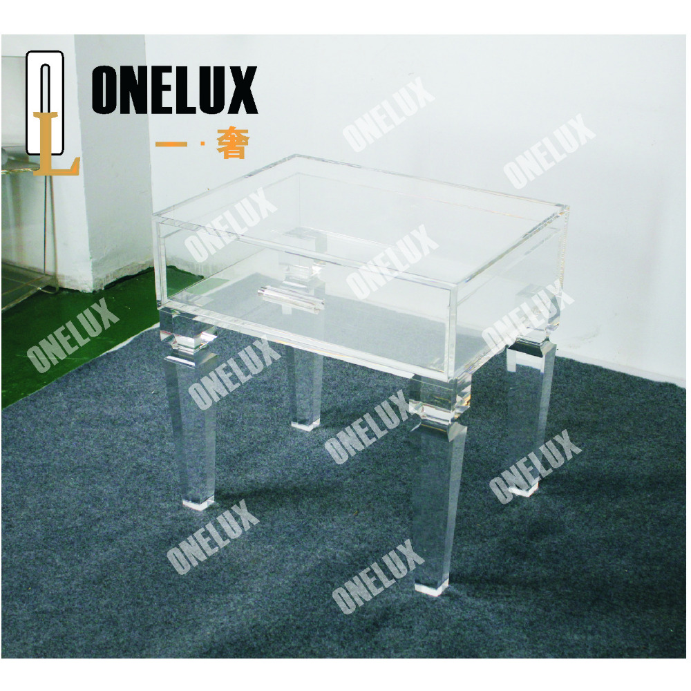 Tapered legs Lucite Single drawer nightstand,acrylic vanity accent side sofa table with drawers ONE LUX