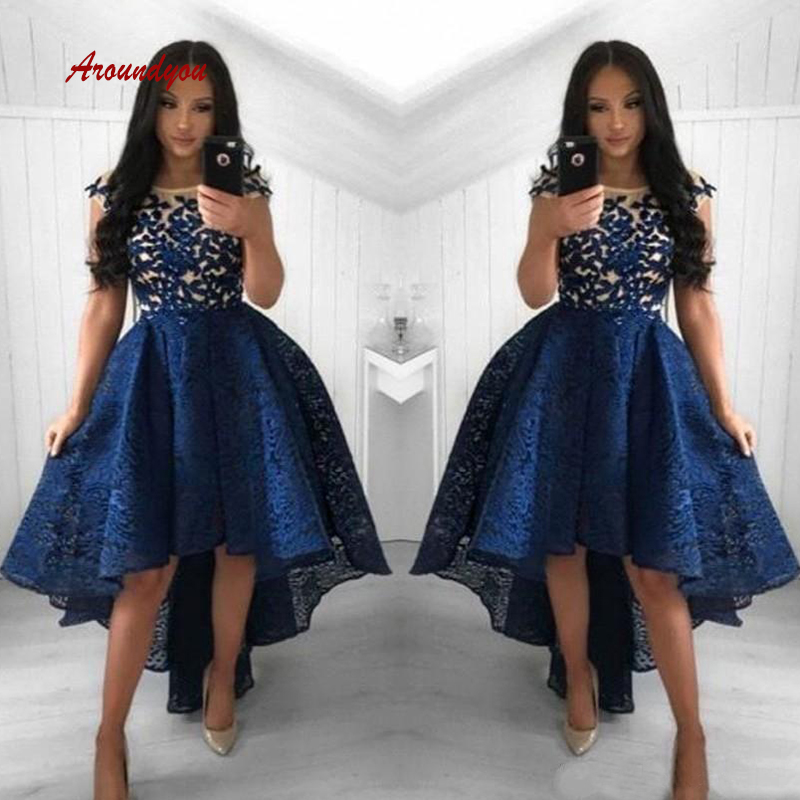 Sexy Navy Blue Short Front Long Back Cocktail Dresses Plus Size Coktail Semi Formal Graduation Prom Party Homecoming Dresses