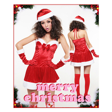 Sexy Lingerie Christmas Party Costumes Dress Cosplay Backless Halter Sexy Christmas Costume For Women