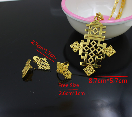 Four PCS Womens Ethiopian Cross Jewelry Sets 24K Yellow Gold Filled Vintage Cross Sets For African Traditional Festival