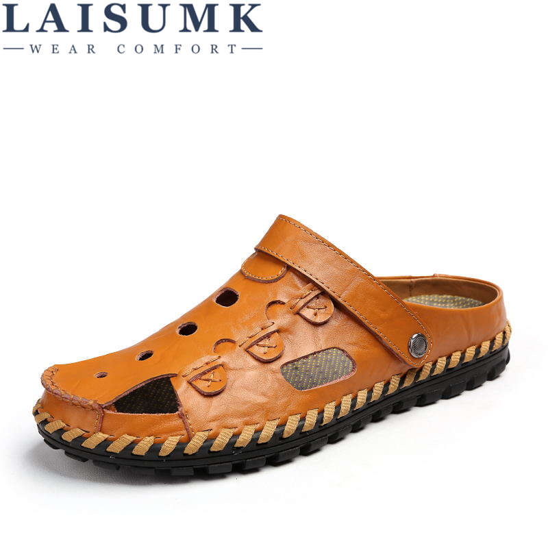 LAISUMK Men Sandals Genuine Leather Cowhide Male Summer Shoes Outdoor Beach Slippers Casual Suede Leather Gladiator Sandals