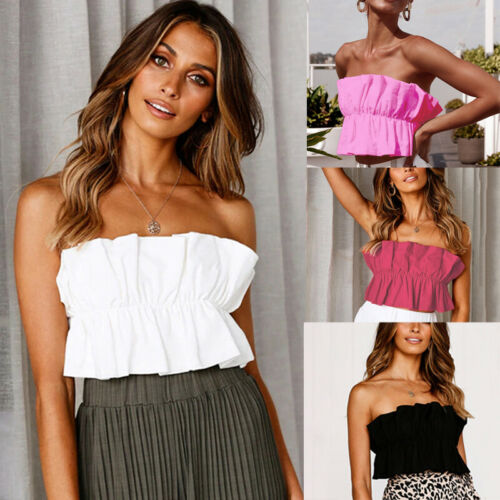 Shirt Tank-Tops Crop Ruffle Hot-Sell Fashion Women Summer Sleeveless Vest Sexy Solid-Color