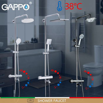 GAPPO Shower Faucets thermostatic shower faucet bath mixer rain shower set waterfall wall mounted tap bathtub faucet water mixer 1