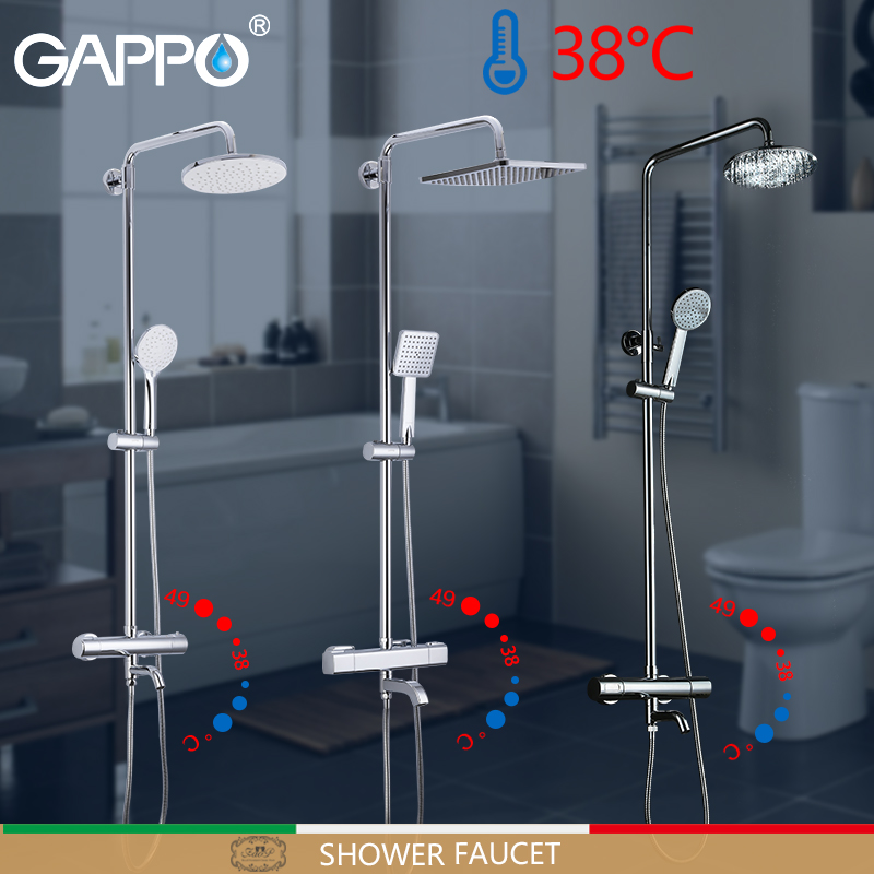 GAPPO Chuveiro Torneiras termostática torneira do chuveiro misturador do banho de chuva chuveiro cachoeira parede torneira montado torneira da banheira misturador de água