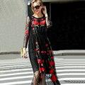 Красивые Длинные Dress 2017 Новая Мода Осень Новый Полный Рукав Сексуальная Mesh Цветы Вышивка Тонкий Черный Длинные Dress