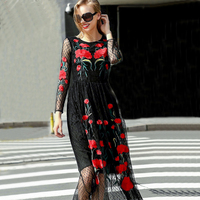 Runway Dresses 2015 New Fashion Runway Long Sleeve Sexy Mesh Carnation Embroidery Slim Black Long