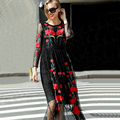 Beautiful Long Dress 2017  New Fashion Autumn New Full Sleeve Sexy Mesh Flowers Embroidery  Slim Black Long Dress