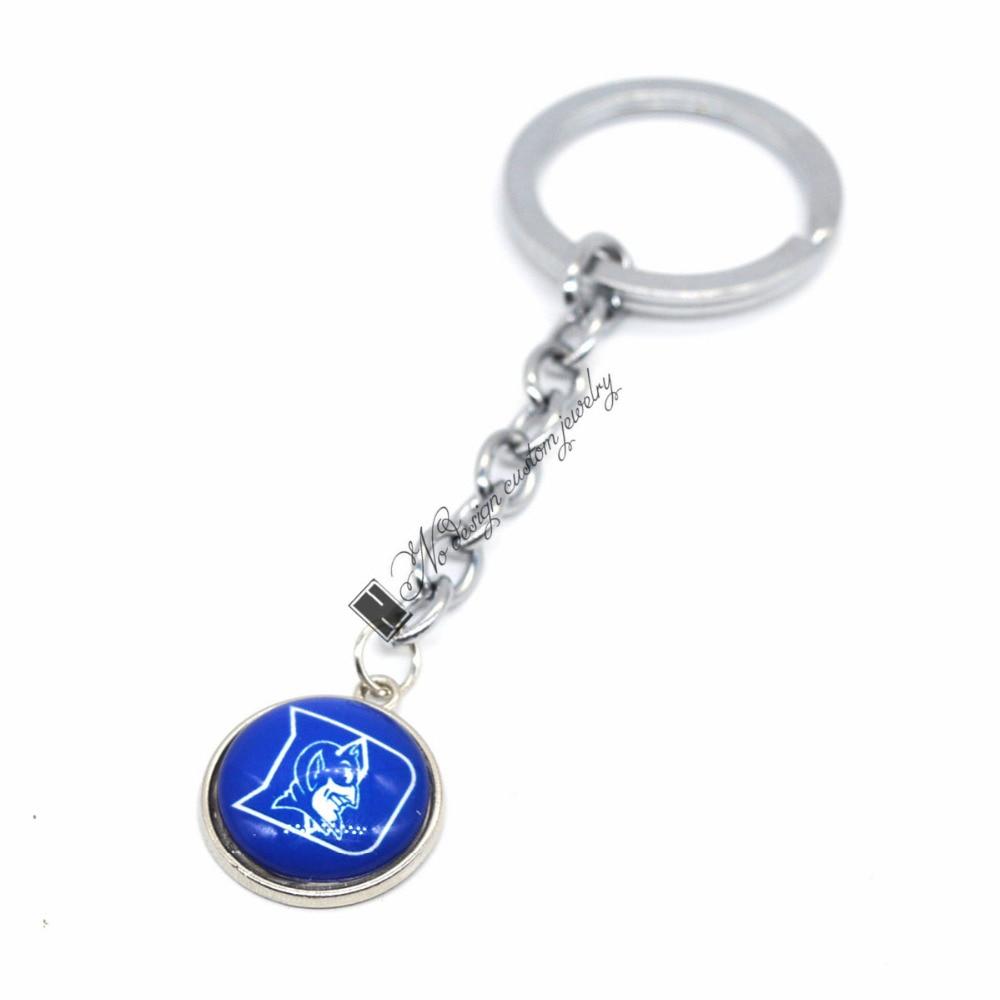 2018 New Basketball Keychain NCAA Duke Blue Devils Charm Key Chain Car Keyring for Women Men Party Birthday Keyrings Gifts