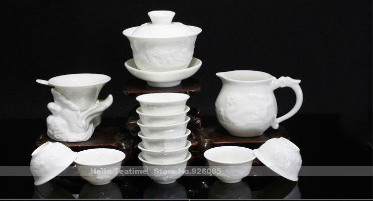 Chinese Dragon Ceramic Tea Set China White Porcelain Kung