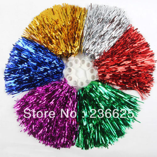 New Fashion 1 Pair 40gram Metallic Cheerleader Cheerleading Dance Party Christmas Pom Poms Decoration Accessories