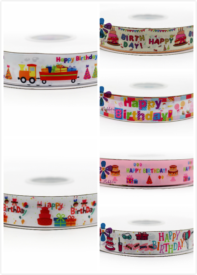 16mm-75mm Happy Birthday Printed Grosgrain Ribbon/Elastic Cake/Gift/Candy DIY Party Packing Stuff Baby Birthday Decor 50y/lot