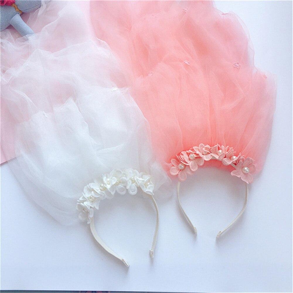 Korea Handmade Rhinestone Crown Imitation Pearl Veil Tiara Hairband for Kids Children Girl   Headwear   Accessories Party-SWKHRB014C