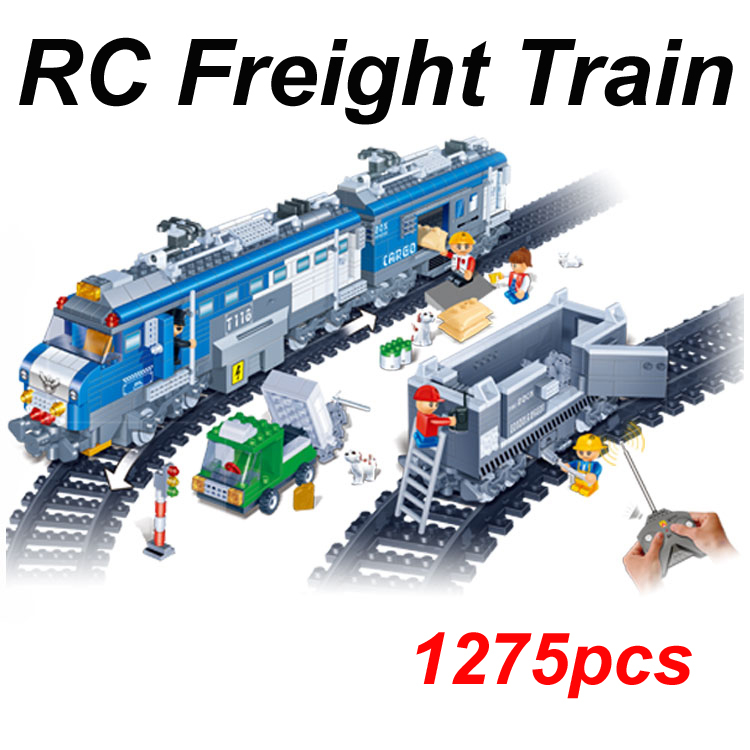 Remote Control toys Freight Train 1275pcs RC Transport Plastic Model Building Block Sets Educational DIY Bricks kids toys