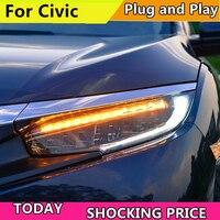 Стайлинга автомобилей фар для Honda Civic 10th 2016 2017 полный светодиодный фары с движется очередь свет Фара светодиодный DRL передний свет