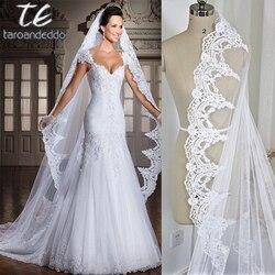 Branco/Marfim 3 M Cabeça de Comprimento Catedral Borda Do Laço Nupcial Véu Com Pente Longo Véu De Noiva Acessórios velos de novia