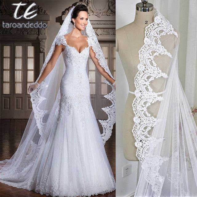 Putih/Gading 3 M Katedral Panjang Renda Edge Bridal Kepala Kerudung dengan Sisir Panjang Kerudung Pernikahan Aksesoris Velos De novia
