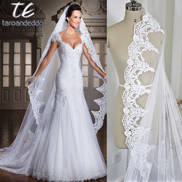 White/Ivory 3M Cathedral Length Lace Edge Bridal Head Veil With Comb ...