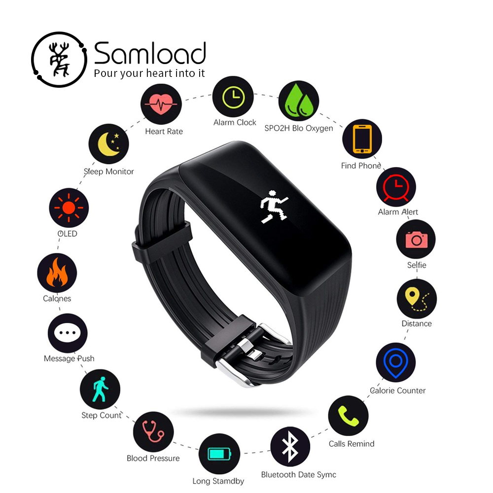 Samload K1 Smart wristband Waterproof Bracelet Bluetooth Sports Band Heart Rate Sleep Speed Tracke For Xiaomi iPhone6 7 8 Huawei