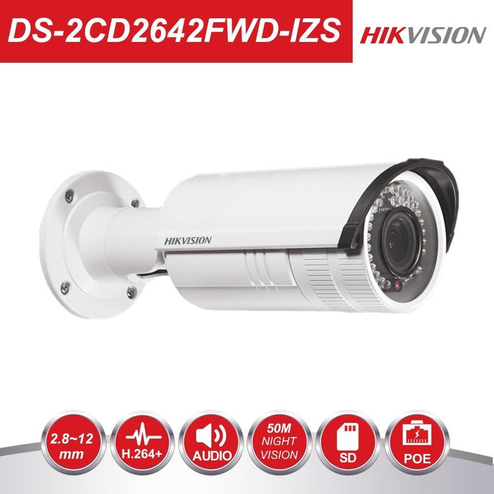 Hikvision Vidéo Surveillance CCTV Bullet Caméra DS-2CD2642FWD-IZS 4MP WDR Vari-Focus Lens 2.8 ~ 12mm Réseau POE IP caméras IR30m