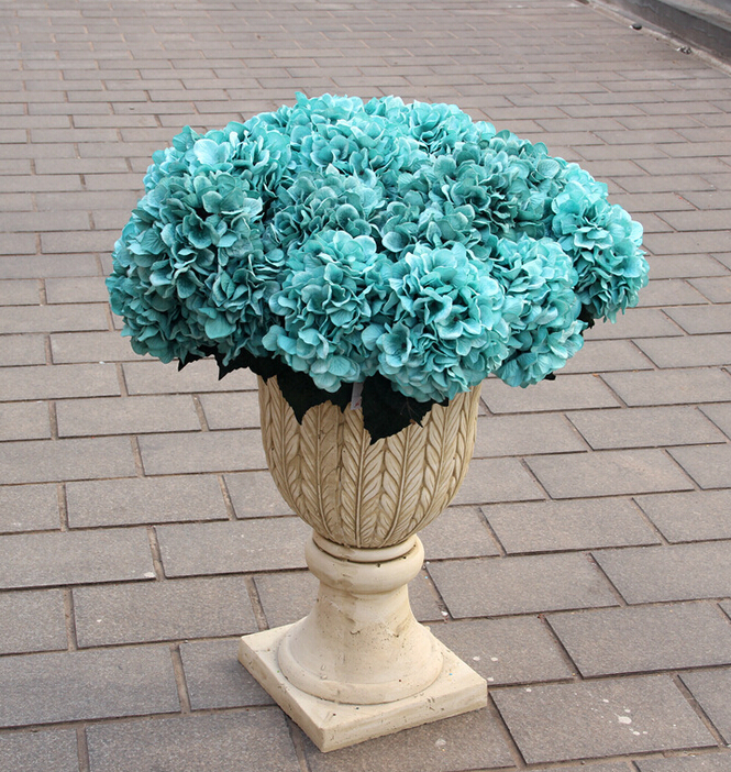 4pcs hydrangea 5 heads piece 50cm inches artificial teal blue large hydrangea for home. Black Bedroom Furniture Sets. Home Design Ideas