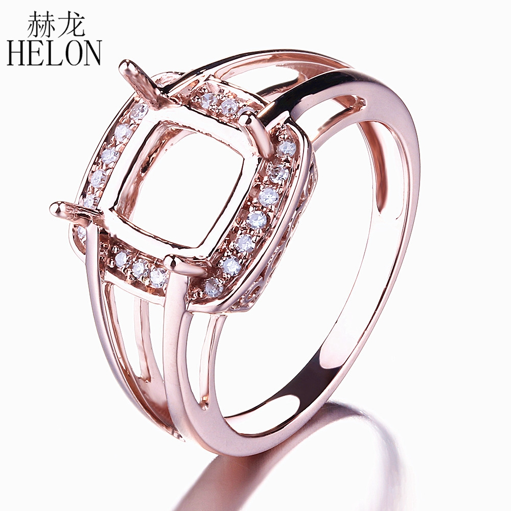 HELON Brilliant Cushion Cut 7x7mm Natural Diamonds Engagement Wedding Semi Mount Ring Setting Solid 14K Rose GoldHELON Brilliant Cushion Cut 7x7mm Natural Diamonds Engagement Wedding Semi Mount Ring Setting Solid 14K Rose Gold