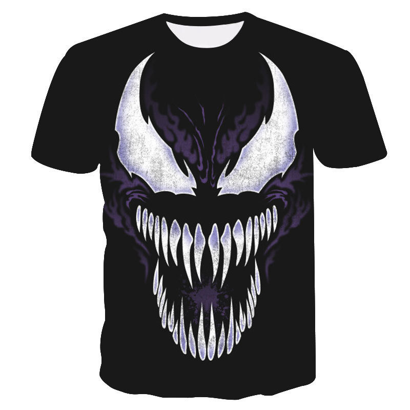 Black 3D Print Women Men Spider-man Eddie Brock Venom Tshirt Summer T-shirt Hip Hop Pullover Harajuku Short Sleeve