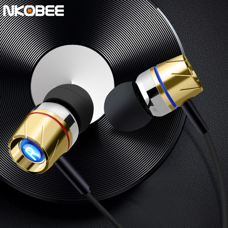 Micro Earphones NKOBEE Metal Earphones With Microphone In-Ear Earphone For Samsung S8 Xiaomi Supper Bass High Quality Earbud m320 metal bass in ear stereo earphones headphones headset earbuds with microphone for iphone samsung xiaomi huawei htc