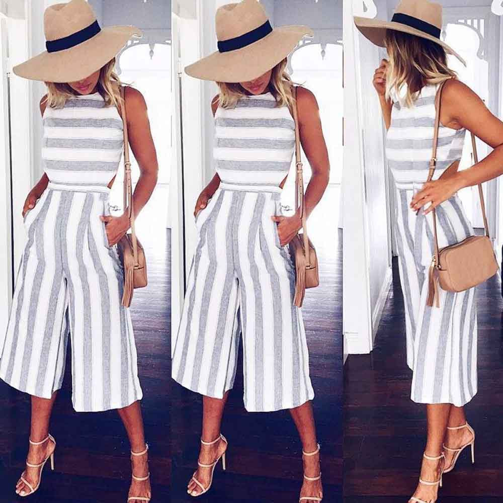 2017 Women's Sleeveless Striped Jumpsuit Casual Loose Trousers Fashionable Leotard Catsuit Combinaison Wide Leg Pants