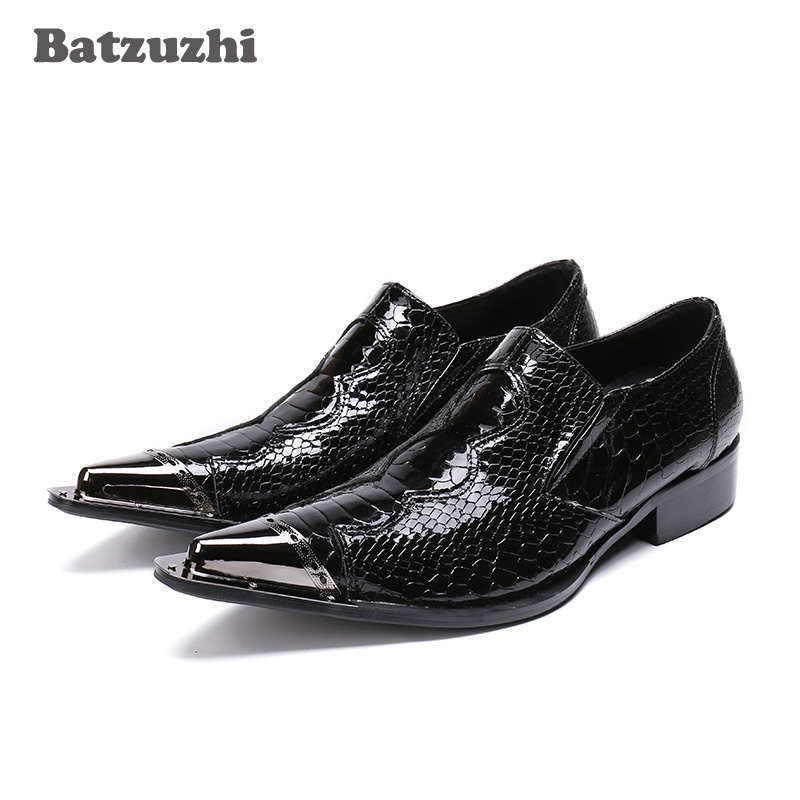Batzuzhi Pointed Metal Tip Mens Shoes Black Patent Leather Fish cales Pattern Leather Oxford Shoes Formal Business Leather ShoeBatzuzhi Pointed Metal Tip Mens Shoes Black Patent Leather Fish cales Pattern Leather Oxford Shoes Formal Business Leather Shoe