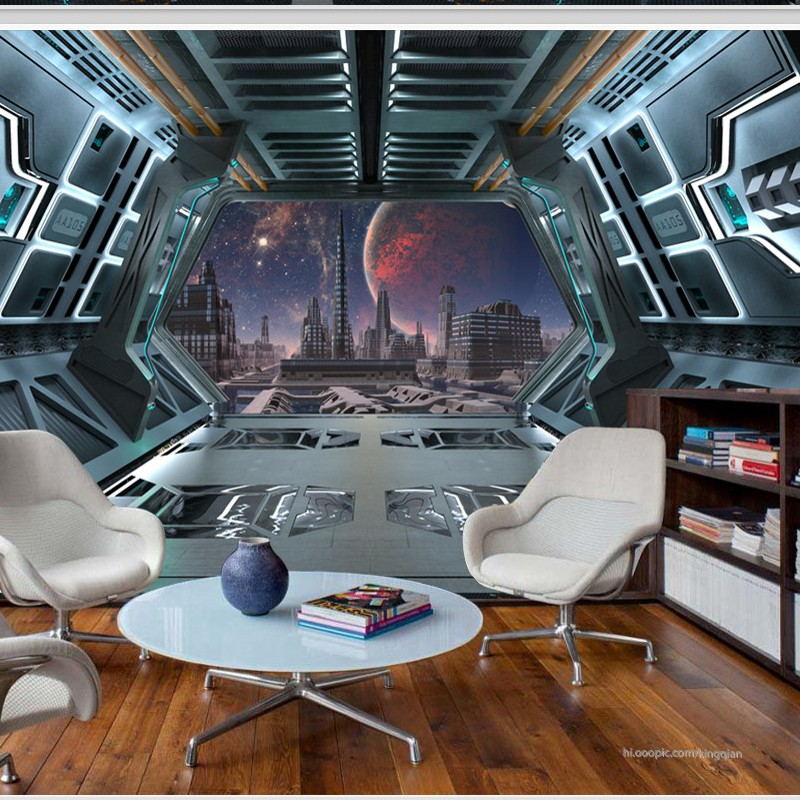 Free shipping 3D stereo mural universe spaceship Space capsule Bar theme restaurant KTV background 3d wallpaper on the wall