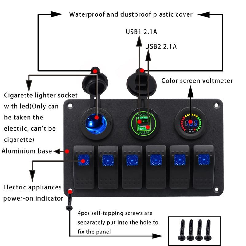 6 Gang Waterproof Car Auto Boat Marine LED Rocker Switch Panel Circuit Breakers Voltage meter Cigarette