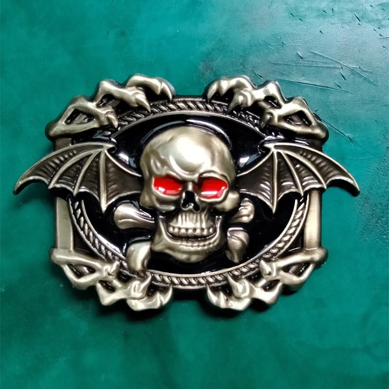 1 piezas de bronce murciélago cráneo con ala vaquera CowBoy hebilla de cinturón adecuado para 4 cm Wideth cinturón