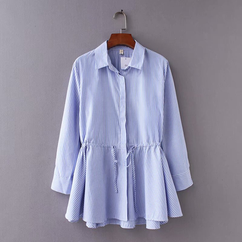 Women Vintage Long Sleeve Striped Loose Hem Smock Shirt Blouses Women Waist Drawstring Casual Business Femininas Blusas LS2563