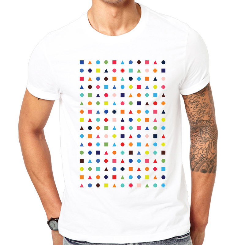 New Arrivals summer men tshirt comfortable breathable white t-shirt male fashion T-shirt Dot triangle square plus repeat pattern