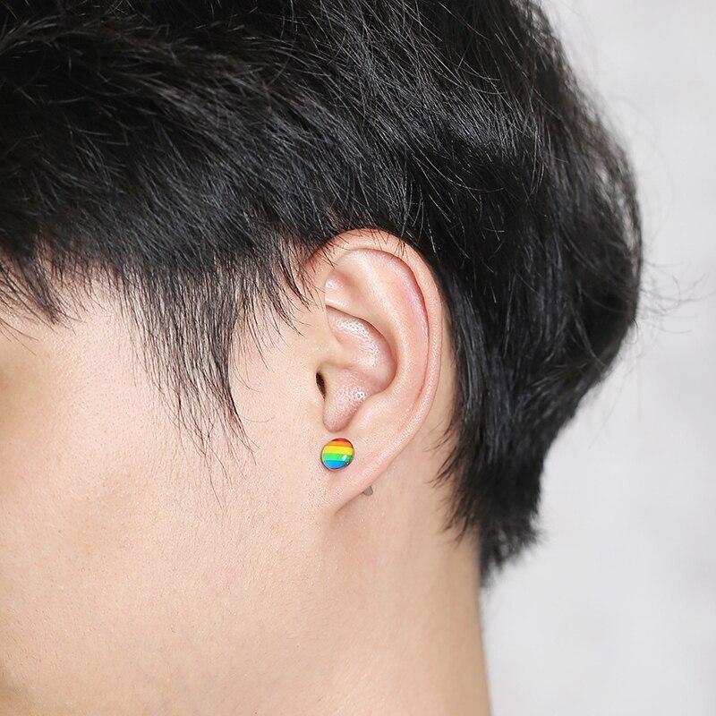 Men's Stainless Steel Rainbow Round Earrings