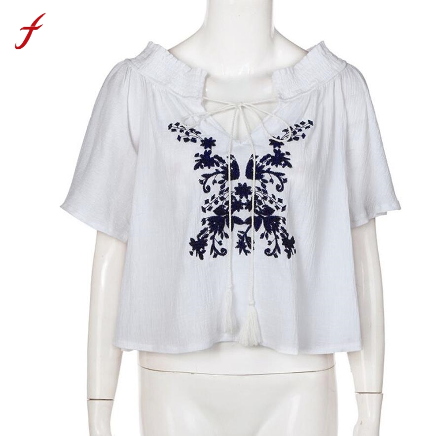 1ed9b86b7bd Sexy Korte Mouw Blouse Vrouwen Zomer Off Shoulder Top Geborduurde Blouse  Casual Zomer Tops Shirt Vrouwen Blouses Blusas Mujer in Sexy Korte Mouw  Blouse ...