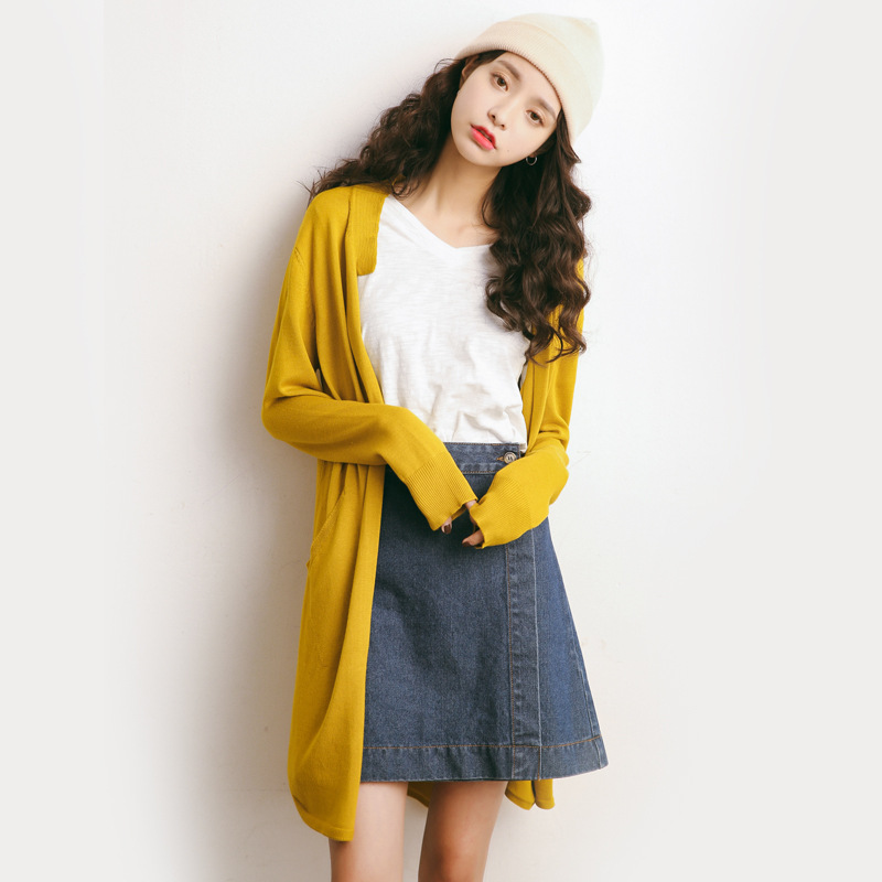 Printemps cardigan femmes décontracté et lâche long design couleur uni col en v chandail bleu rose et jaune cardigans fins A656