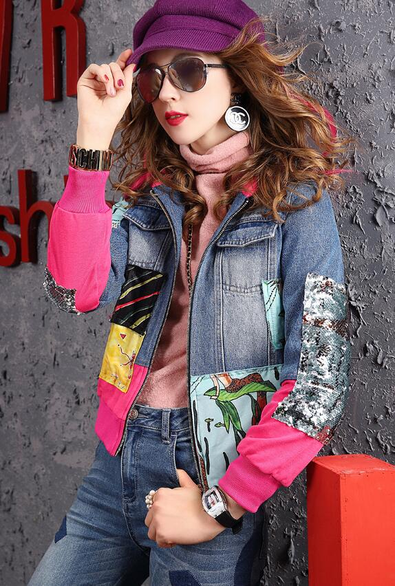 Весенняя джинсовая куртка Женский Европейский станция новый прилив бренд патч с принтом верхняя одежда с прострочкой с капюшоном джинсова