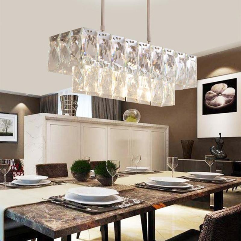 jmmxiuz Modern Crystal Chandelier Rectangle Dining Room Lighting Luxury Kitchen Island LED Crystal Chandeliers