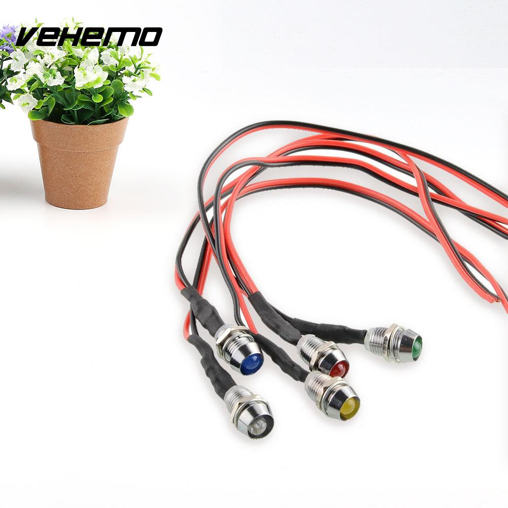 Vehemo Cool 5x LED Indicator Light Pilot Dash Directional For Car Vehicle color Blue Red Yellow Green White