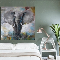 Big Elephant Animal Abstract Oil Paints Wall Art Oil Painting on Canvas Oil Painting for Living Room Wall Decor Unframed