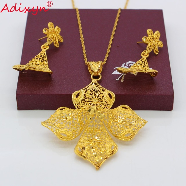 Adixyn Ethnic Gold Color/Copper Necklace/Earrings/Pendant Bridal Wedding Jewelry Set African/EthiopianParty Gifts N082626