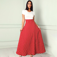 2018 Women Fashion Elegant Boho Casual Prom Casual Party Dress Female Long Sleeve Polka Dot Splicing Belted Wrap Maxi Dress
