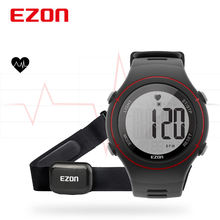 New EZON T037 Men Women Sports Wristwatch Digital Heart Rate Monitor Outdoor Running Watch Alarm Chronograph with Chest Strap(China)