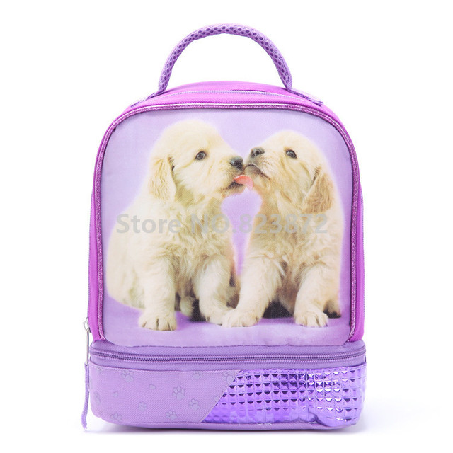 Cute Puppy Dog Purple Dual Compartment Insulated Lunch Bag for Women Kids  Girl Lunch Box Tote