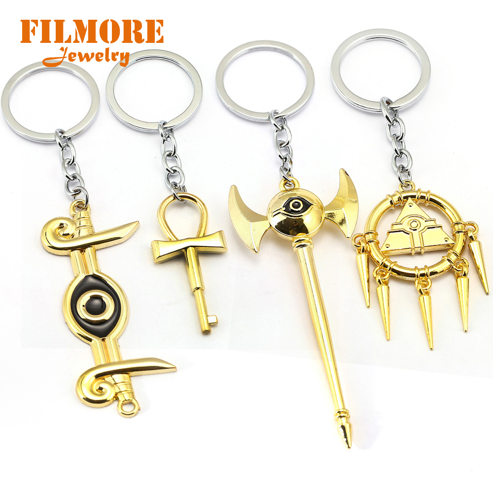 Duel Monsters Keychain Lovely Yu Gi Oh Yugioh Millenium Pendant Jewelry To Seven Artifact Action Figure Llavero Chaveiro Jewelry