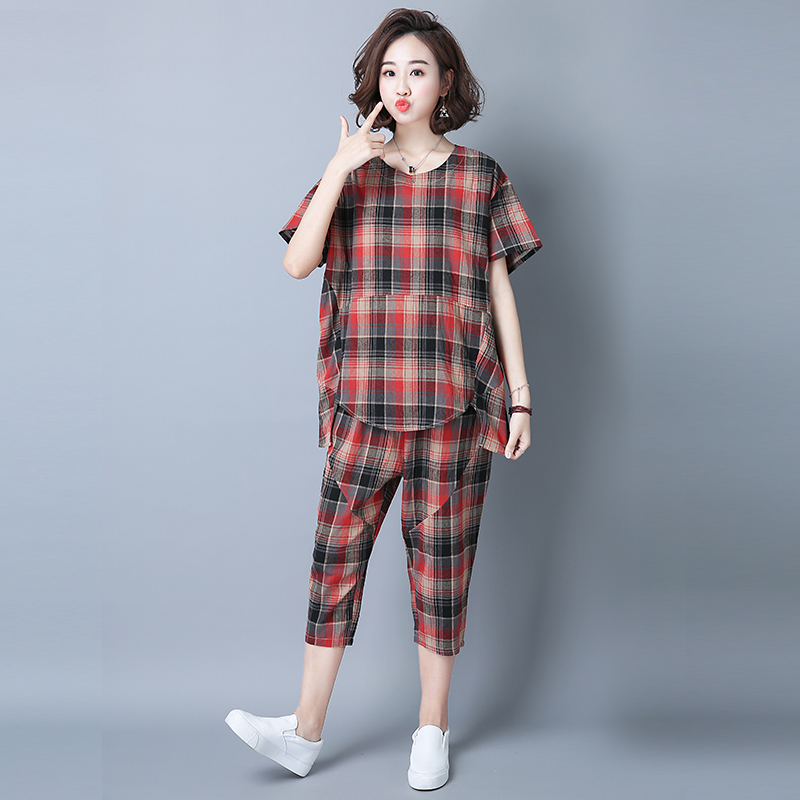 2019 Summer Plaid Cotton Linen Two Piece Sets Outfits Women Plus Size Short Sleeve Tops And Cropped Pants Casual Suits Red Green 35